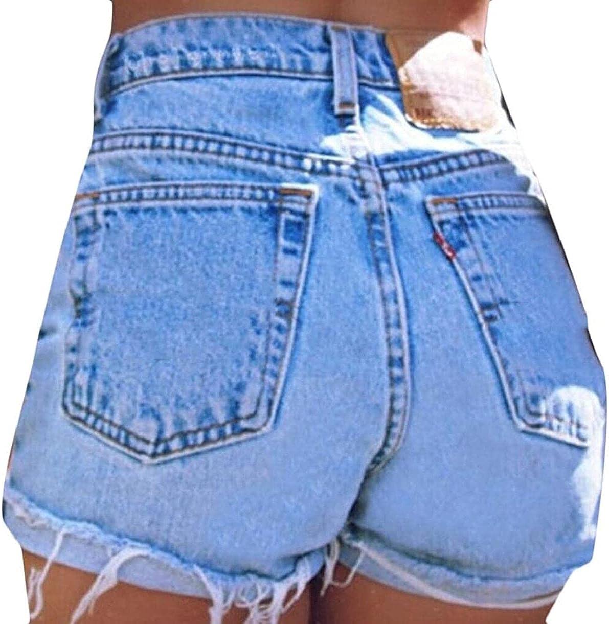 ZYUEER Denim Shorts for Womens,Slim Fit High Waist Washed Denim Shorts Jeans