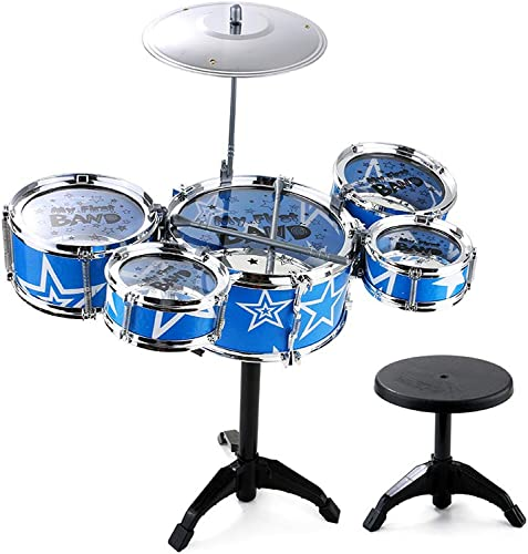 LINGLING-Trommel Kinder Multi-Trommel-Kombination Percussion Instrument Trommel frühe Bildung Puzzle Blau Boy Geschenk (Größe   5 Drums - A)