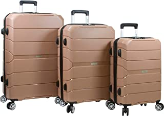 Dejuno Ark 3-piece Lightweight Hardside Spinner Luggage Set, Black