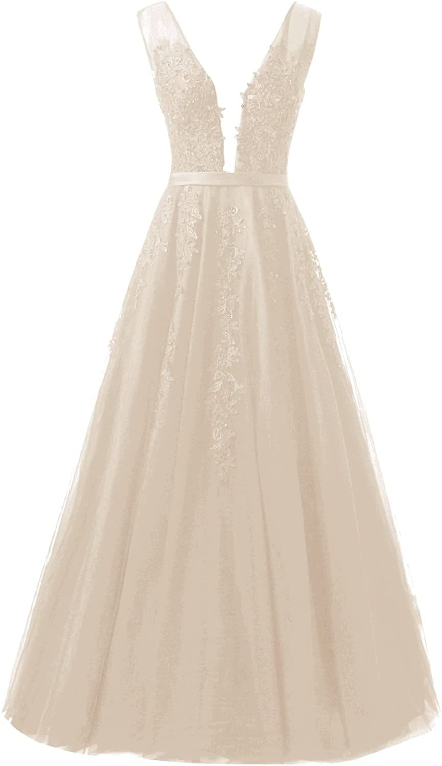 Bess Bridal Women's Deep V Neck Lace Beaded Long Tulle Prom Evening Dresses