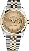 Rolex Datejust 36 Steel Yellow Gold Watch Champagne Diamond Dial 116203