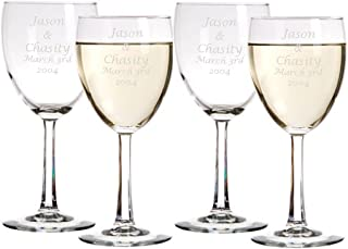 Laser Engraved Wine Glasses - Personalized Pack of 4