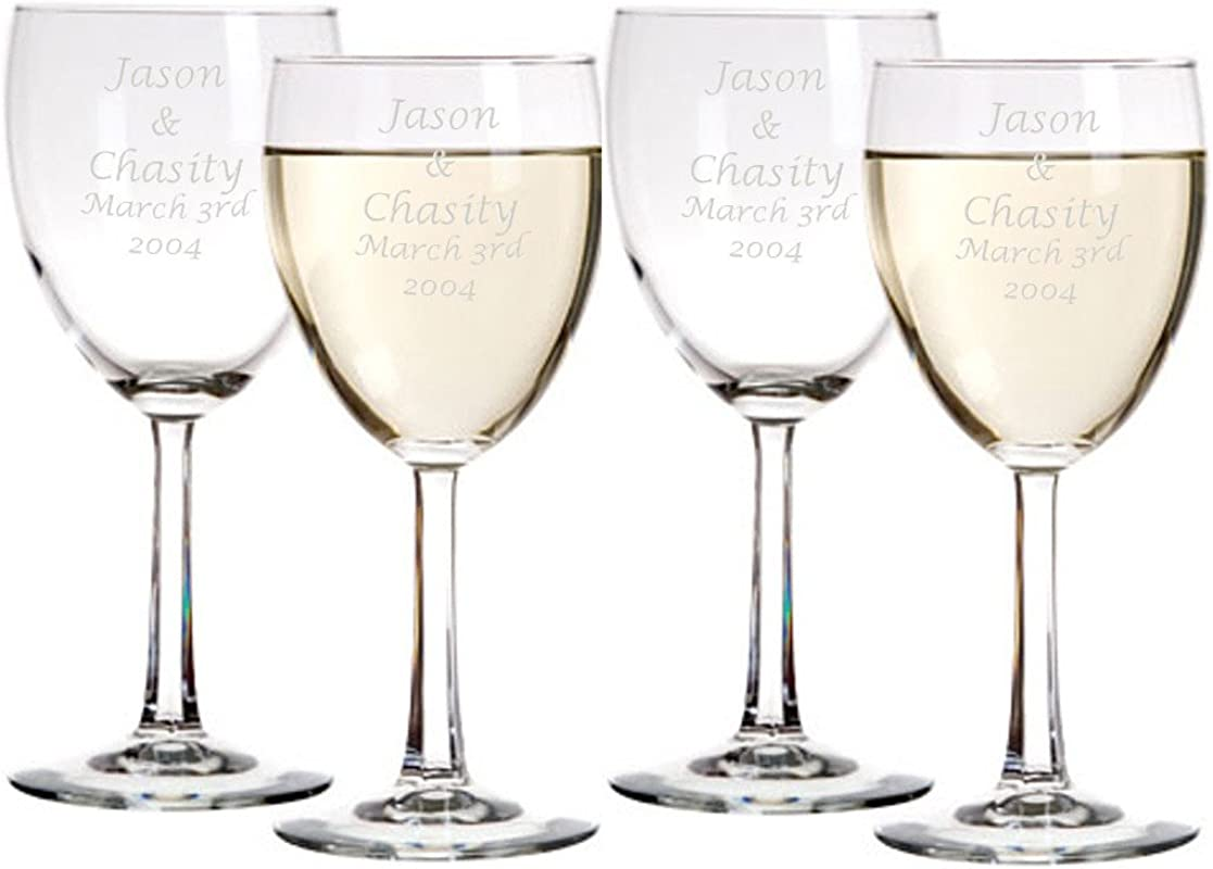 Laser Engraved Wine Glasses Personalized Pack Of 4