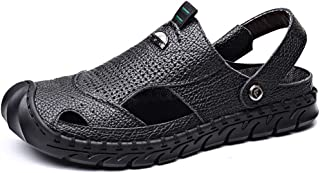 FDSVCSXV Men's Casual Walking Sandals Closed Toe Outdoor Sports Hiking Sandals Summer Leather Beach Shoes Hollow out Adjus...