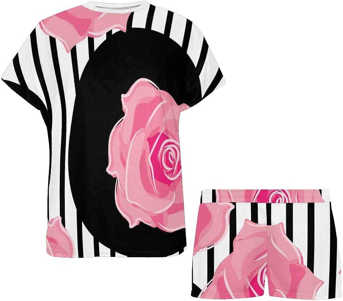 InterestPrint Pattern of Roses Women's Lightweight Pajama Set, Short Summer Pjs