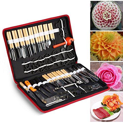 Jianyana, set di 80 attrezzi per l'intaglio, l'incisione e la scultura di verdura, frutta, cibo e legno, un kit portatile da veri chef