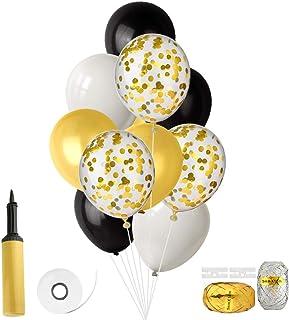FEPITO Globos de 46 Piezas con Hinchador de Globos para Cumpleaños de Boda Decoraciones de Fiesta de Baby Shower 12 Pulgadas (Confeti de Oro, Negro, Blanco, Dorado)