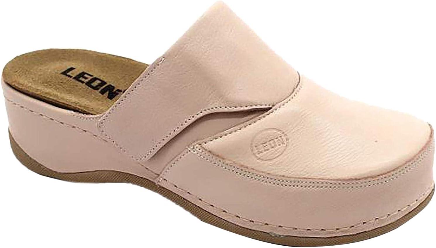 LEON 3300 Sabots Mules Chaussons Chaussures en Cuir Femme