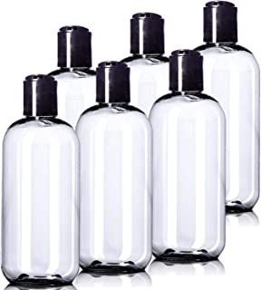 8oz Plastic Clear Bottles (6 Pack) BPA-Free Squeeze Containers with Disc Cap, Labels Included