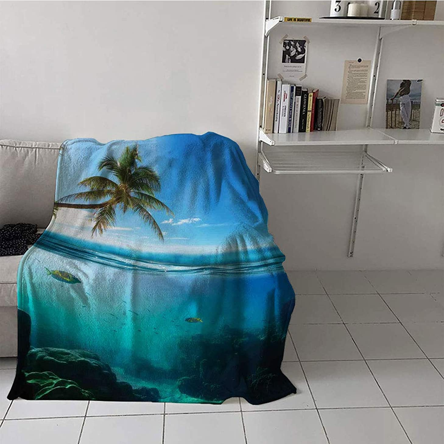 Khaki home Children's Blanket Lightweight Warm All Season Blanket for (35 by 60 Inch,Ocean,Tropical Underwater Shot with Surface Coconut Tree and Sky Aqua Water Theme Paradise Image,Turquoise