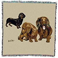 Pure Country 1127-LS Dachshund Pups Pet Blanket, Canine on Beige Background, 54 by 54-Inch by Pure Country