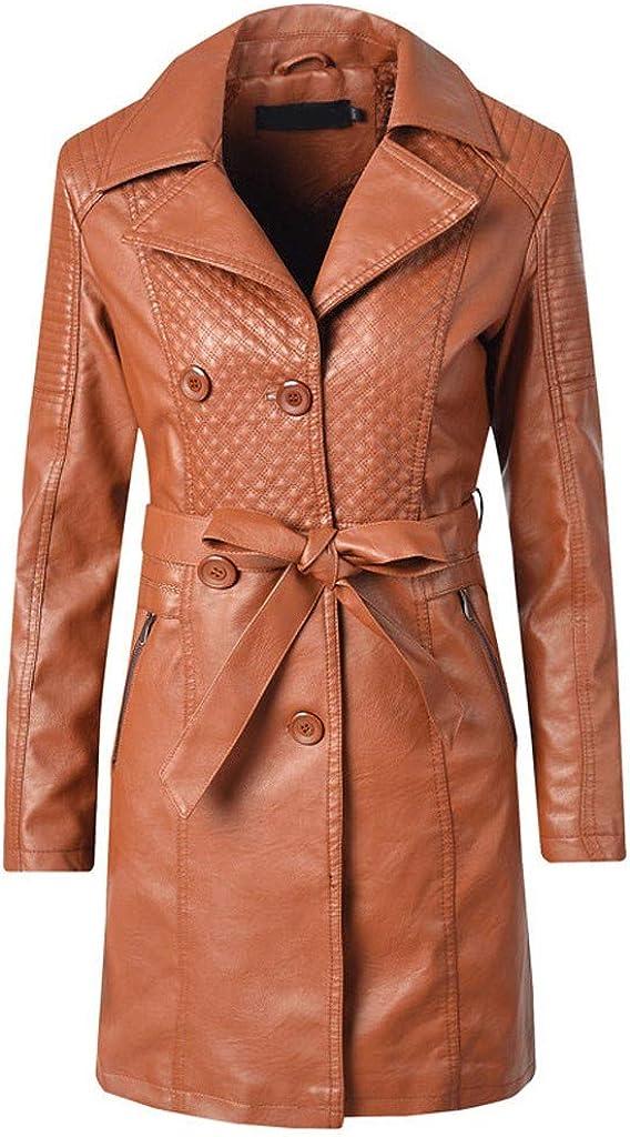 TOTOD Women Trench Coat Jacket PU Quilted Faux Leather Overcoat Fleece Lined Belted Windbreaker Long Parka Outwear