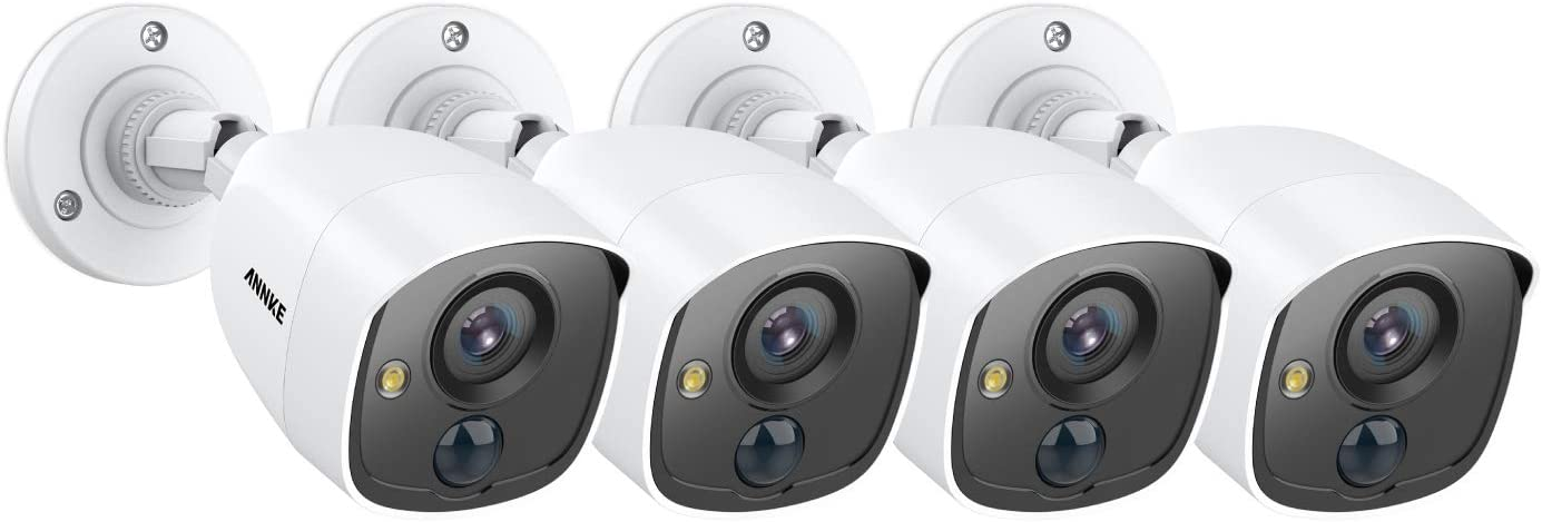 ANNKE (4) 1080P Surveillance Security Camera Kits with Ultra Clear 100ft/Night Vision, PIR Detection, White Light Alarm, IP67 Weatherproof, 4-Packed with Power Cables