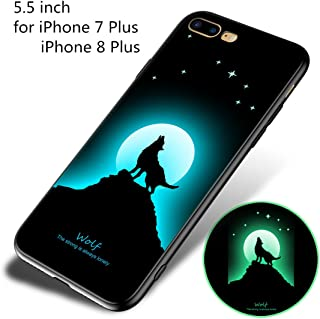 LAAKSO Case Cover for Apple iPhone 8 Plus iPhone 7 Plus Cell Phone Sleeves Protect Case Luminous Noctilucent Night Glow in Dark Ultra Slim Flexible Soft TPU Protective Case (Wolf)