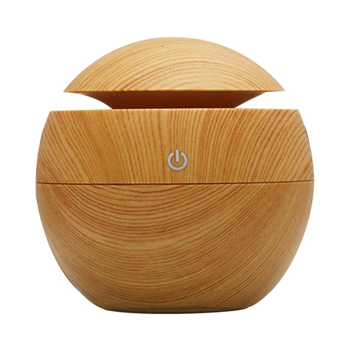 出席麻痺上向きSaikogoods 130mlのポータブルサイズの木製のホームオフィスアロマエッセンシャルオイルディフューザー超音波USB充電式ミスト加湿器 ライトウッドカラー
