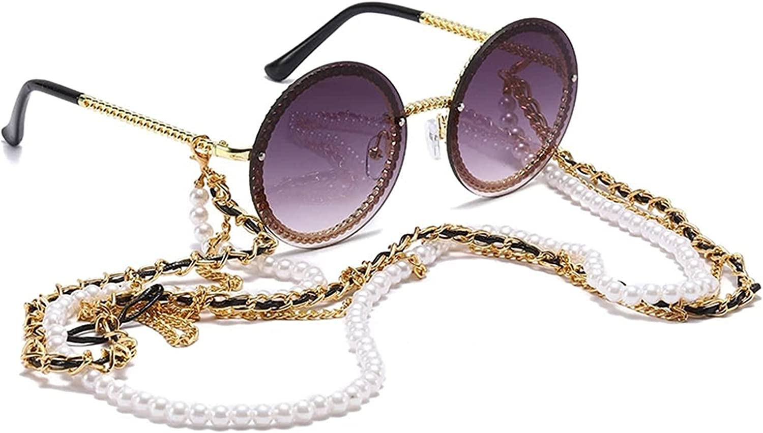 White Pearl Sunglasses Chain Women Lanyard with Strap Eye Glasses Accessories for Lady (Color : Gold)