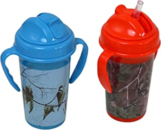 Realtree Straw Top Sippy Cups with Removable Handles, 1 Orange Camo and 1 Blue Camo