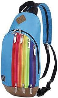 Lovoski Nylon Outdoor Travel Shoulder Backpack Rainbow Cross Body Bag Sling Chest Bag