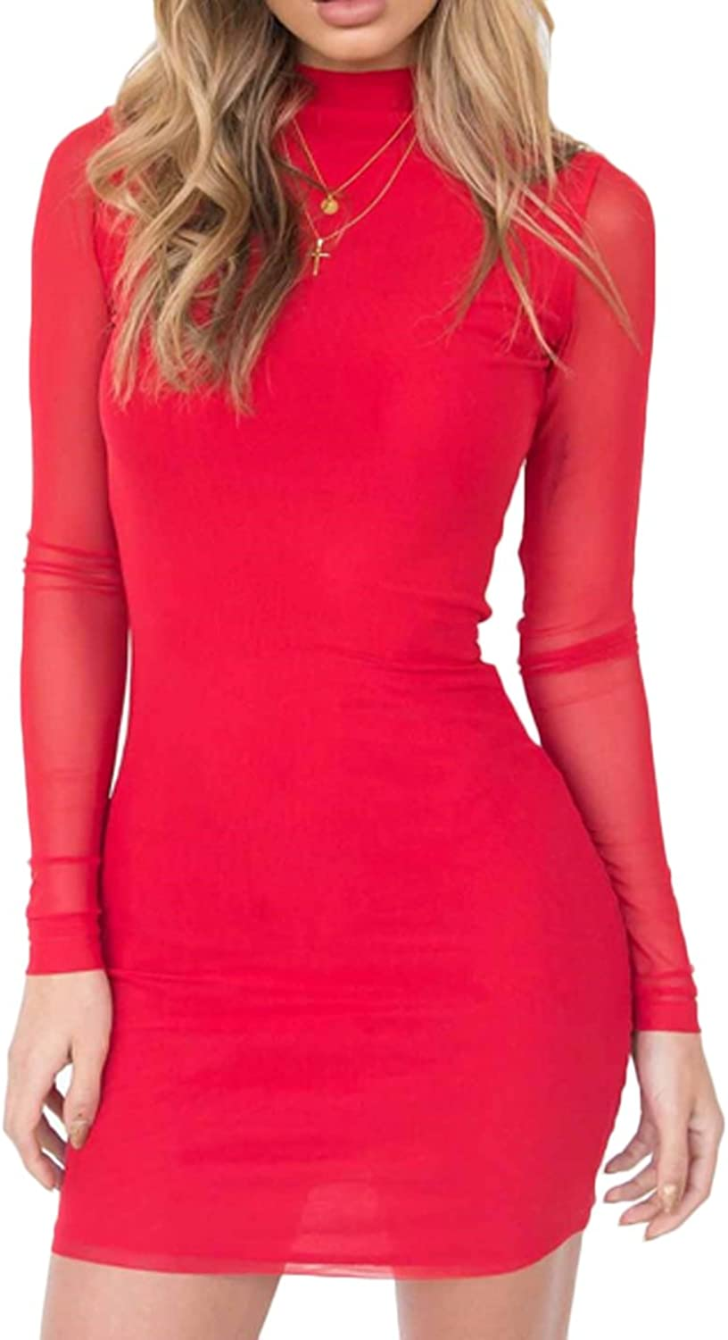 Sunfury Womens Mock Neck Sexy Mesh Long Sleeve Bodycon Party Mini Dress Clubwear
