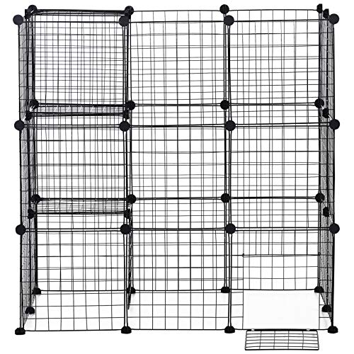 PawHut 36 pcs Metal Mesh Pet Playpen Portable DIY Small Animal Cage House Kennel Crate Fence with Mallet Connectors and Cable Ties