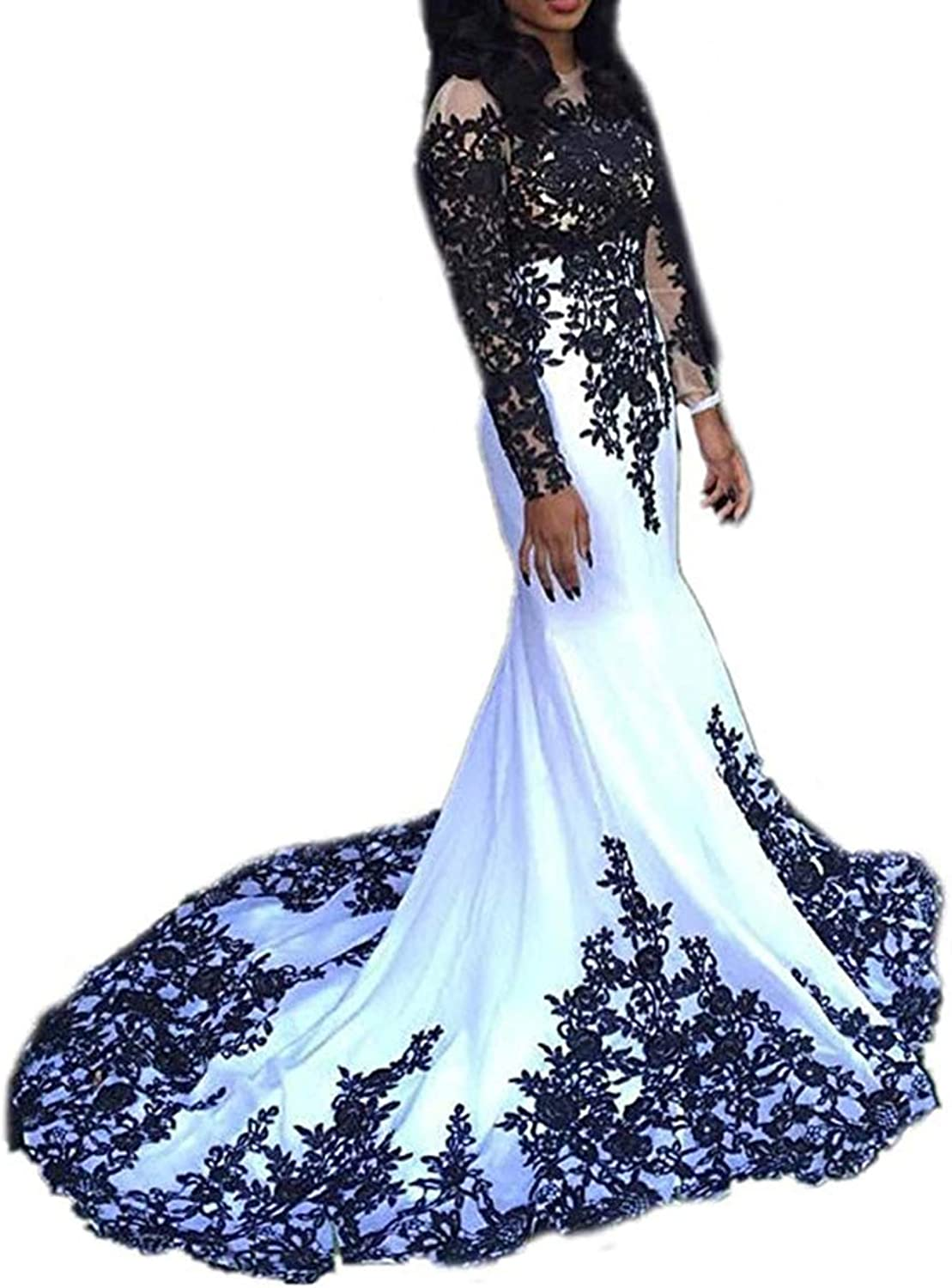 Ri Yun Women's Long Sleeves Lace Prom Dresses 2019 Mermaid Sexy Formal Evening Ball Gowns with Black Lace Appliques
