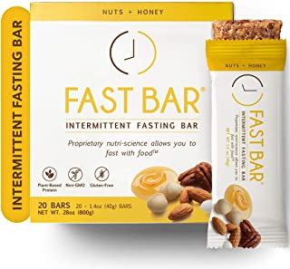 Fast Bar, Nuts & Honey, Gluten Free, Plant Based Protein Bar For Weight Management & Intermittent Fasting (20 Count Box)