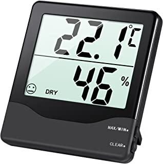AMIR Indoor Hygrometer Thermometer, Digital Temperature and Humidity Monitor with LCD Screen, MIN/MAX Records, °C/°F switch, Comfort Indicators Multifunctional  for Home, Office, Baby Room, etc