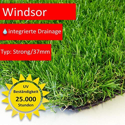 Steffensmeier Premium Kunstrasen Rasenteppich Windsor | wasserdurchlässig mit Drainage für Balkon, Garten | UV-Garantie in Grün, Größe: 133x100 cm