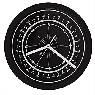 llsmting Wall Clock for Living Room Nautical Compass with Led Backlight Wind Rose Compass Rose Home Decor Navy Luminous 10 Inch The Silent Sweep Means None of That Annoying Ticking