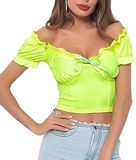 Domple Women Slim Off Shoulder Ruffle Short Sleeve Crop Tops Tee Blouse