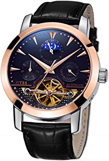 TSS Men's Automatic Tourbillon Moonphase Watch T8030 - Mechanical Stainless Steel Round Watch Synthetic Sapphire Pure & Clear Window - Water Resistant Up to 50m