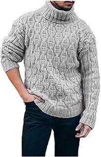 HEFASDM Men Pullover Baggy Plus Size Knitwear Mock Neck Pullovers Sweater