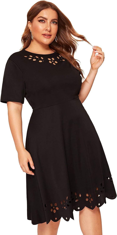 Romwe Women's Plus Size Cut Out A Line Swing Stretchy Midi Dresses