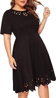 Women's Plus Size Cut Out A Line Swing Stretchy Midi Dresses