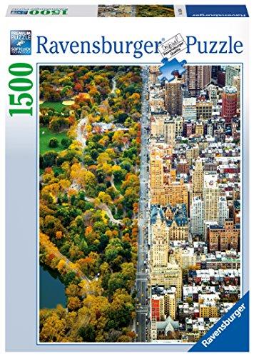 Ravensburger New York Puzzle, Città divisa, Central Park, Puzzle 1500 pezzi, Relax, Puzzles da Adulti, Dimensione: 80x60 cm, Stampa di alta qualità, Travel, Viaggi
