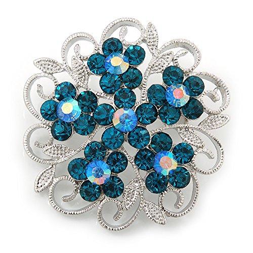Avalaya Teal Crystal Filigree Floral Brooch In Rhodium Plating - 43mm Diameter
