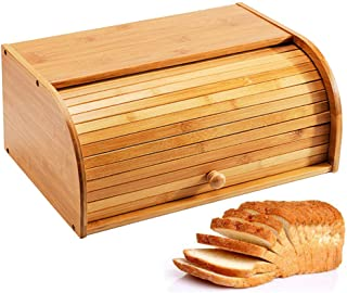 Jolitac Bread Box Large Countertop Bread Storage Bin Bamboo Wood Roll Top Bread Box Kitchen Food Storage Large Capacity Bread Keeper