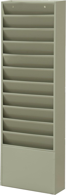 Durham 405-54 Putty Cold Rolled Steel 11 Large Pocket Literature Rack, 13-1 4  W x 36  H x 4-1 8  Depth
