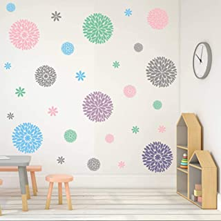 TOARTi Fireworks Blooming Flower Wall Decal, Attractive Fireworks Pattern Sticker for Party Supplies, Great Circle Window Cling Decor (30pcs Multicolor Decals)
