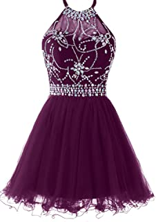 473778a75c Musever Women s Halter Short Homecoming Dress Beading Tulle Prom Dress
