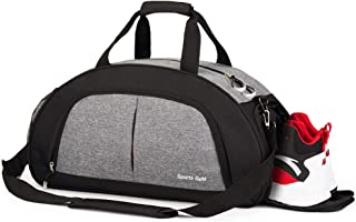 Sports Gym Bag with Wet Pocket & Shoes Compartment,Waterproof Travel Weekender Swim Camping Hiking Sports Gym Travel Duffel Bag for Men & Women(Grey)