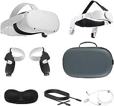 2021 Oculus Quest 2 All-In-One VR Headset, Controladores de toque, 256GB SSD, óculos compatíveis, áudio 3D, cinta de cabeç...