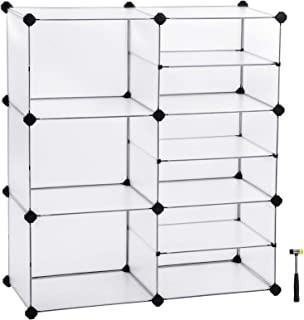 SONGMICS Storage, Interlocking Plastic Cubes Organizer with Divider Design, Modular Cabinet, Bookcase for Closet Bedroom Kid's Room, Includes Rubber Mallet, White, ULPC36W
