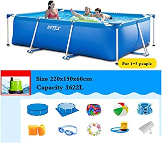 Rectángulo Azul Piscina, Soporte extraíble Inicio Capacidad Alta Resistencia Ninguna Fuga Buena tenacidad, para Patio, Garden Beach - 1-10 Personas,220x150x60cm