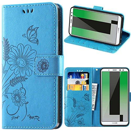 kazineer Huawei Mate 10 Lite Hülle, Leder Tasche Handyhülle für Huawei Mate 10 Lite Schutzhülle Blume Muster Etui Hülle - Türkis blau