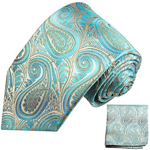 Paul Malone Krawatten Set 100% Seidenkrawatte mit Einstecktuch paisley türkis