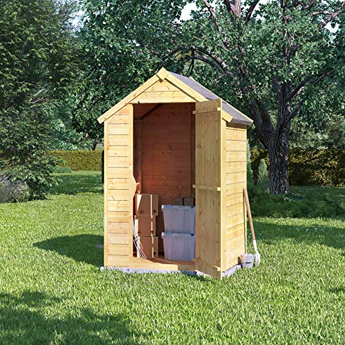 BillyOh 3x4 Storer Overlap Garden Shed with Floor | Windowless Wooden Shed with Apex Roof | Garden Storage Shed 3x4