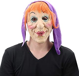 Women's Old Witch Mask with Hair and Bandana for Halloween Costume Party Orange