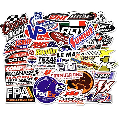 PMSMT 50 Stück/Packung Formel 1 Rennwagen Graffiti Aufkleber Kinder Spielzeug Aufkleber für DIY Gepäck Laptop Skateboard Moto Wasserdichter Aufkleber