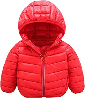 TOPBIGGER 2020 NEW Baby Boys Solid Hooded Zip Jacket Coat Toddler Thick Clothes Boys Girls Snow Hoodies Outwear Snowsuit Winter Warm Zip-Up Coat Jacket 12M-7Y